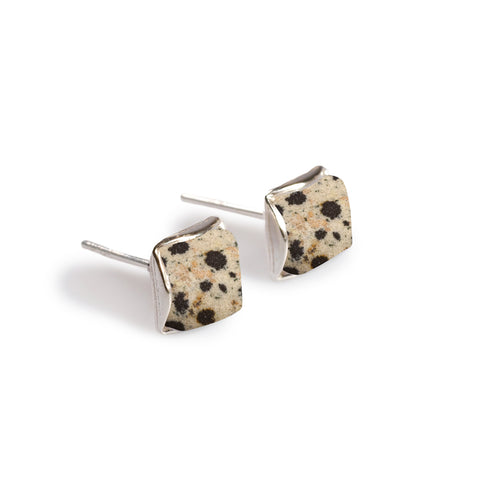 Small Square Stud Earrings in Silver and Dalmatian Jasper