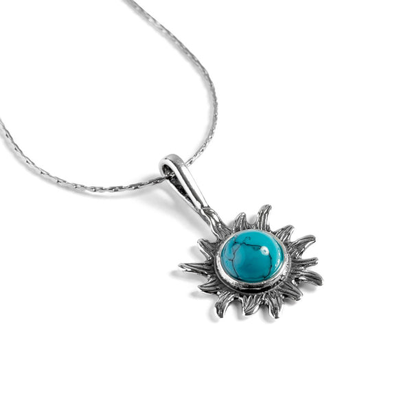 Sunflower Necklace in Silver and Amber