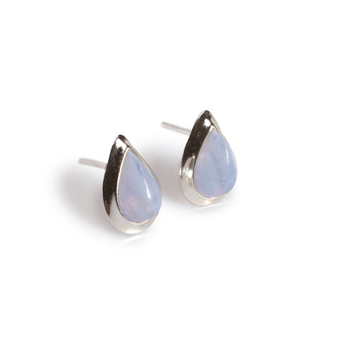 Teardrop Stud Earrings in Silver and Blue Lace Agate