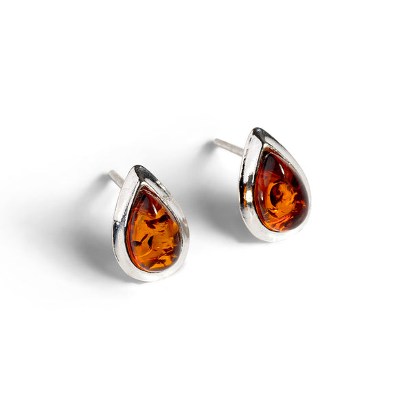 Teardrop Stud Earrings in Silver and Cognac Amber