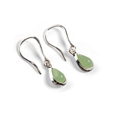 Teardrop Hook Earrings in Silver and Aventurine