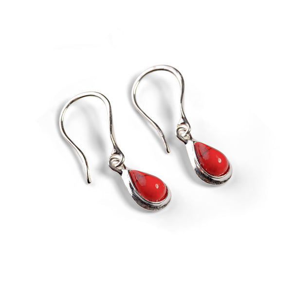 Teardrop Hook Earrings in Silver and Coral