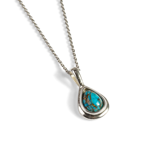 Classic Teardrop Necklace Silver and Copper Turquoise