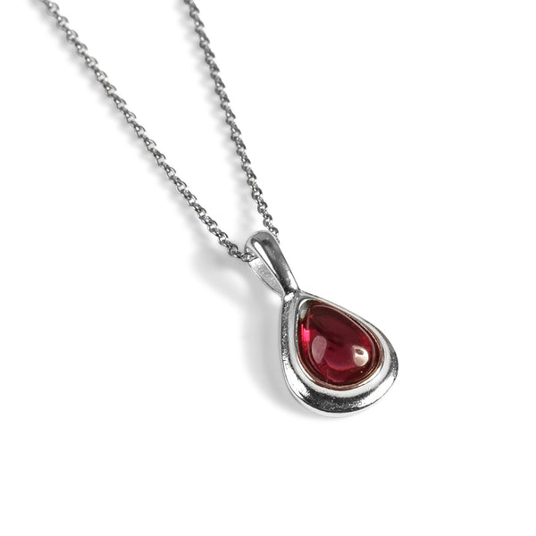 Classic Teardrop Necklace in Silver and Garnet