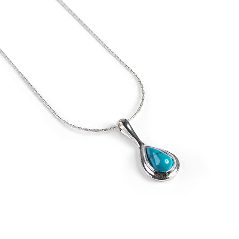Classic Teardrop Necklace in Silver and Turquoise