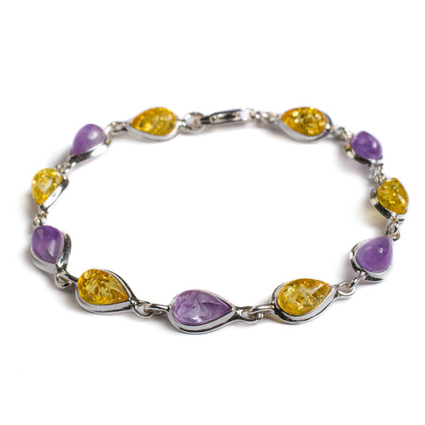 Teardrop Link Bracelet in Silver, Amethyst and Yellow Amber