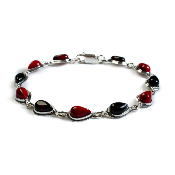 Teardrop Link Bracelet in Silver, Coral and Cherry Amber