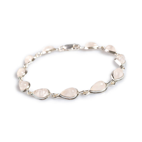 Teardrop Link Bracelet in Silver and Rose Quartz