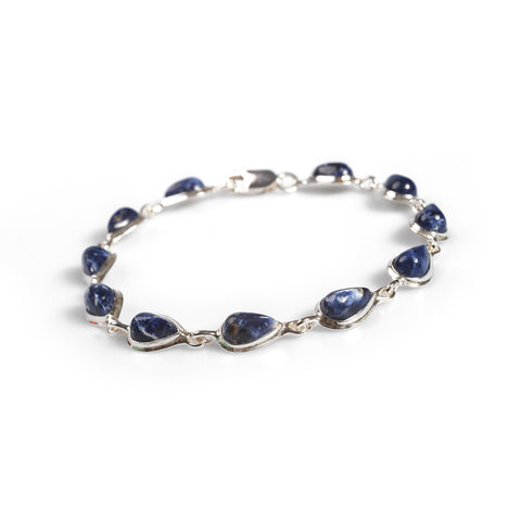 Teardrop Link Bracelet in Silver and Sodalite
