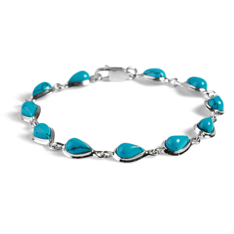 Teardrop Link Bracelet in Silver and Turquoise