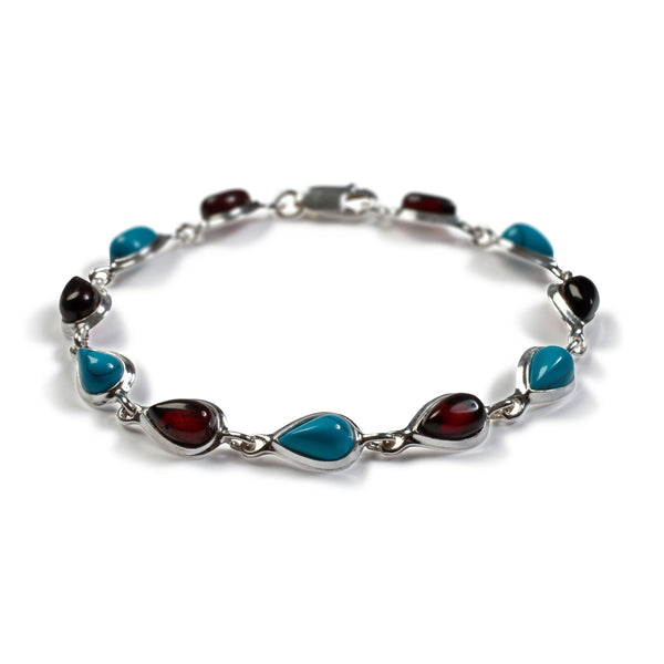 Teardrop Link Bracelet in Silver, Turquoise and Cherry Amber