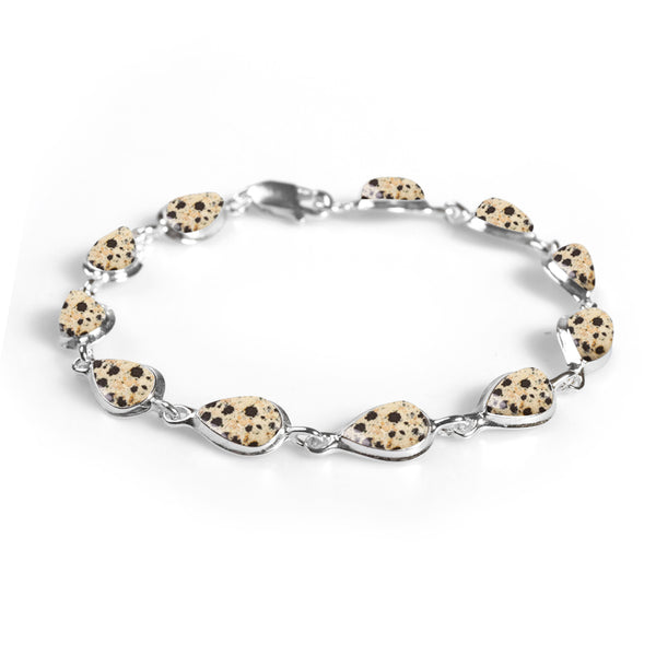 Teardrop Link Bracelet in Silver and Dalmatian Jasper