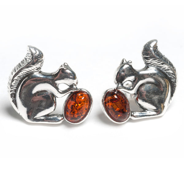 Squirrel Stud Earrings in Silver and Amber