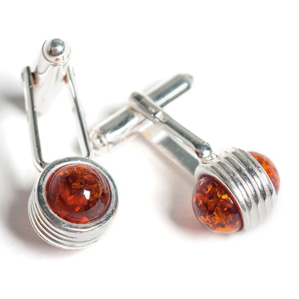 Elongated Ball Cufflinks in Silver and Amber