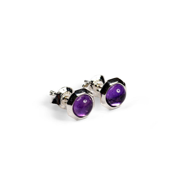 Small Round Stud Earrings in Silver and Amethyst