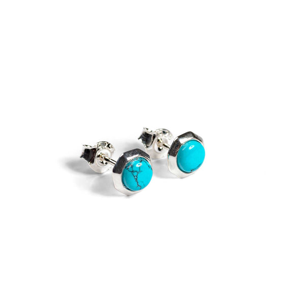 Small Round Stud Earrings in Silver and Turquoise