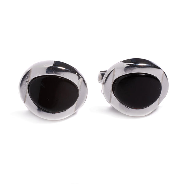 Chunky Oval Centre Cufflinks in Silver and Cherry Amber