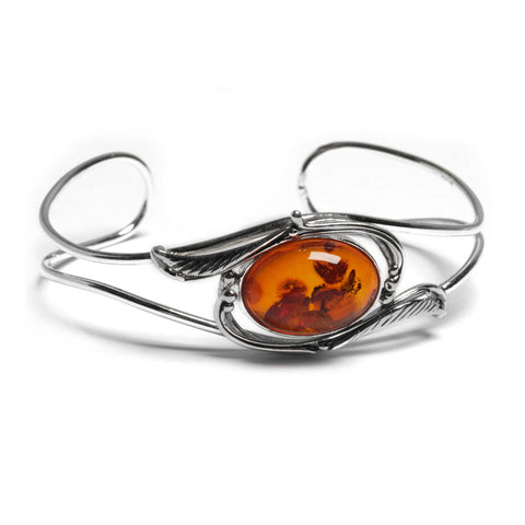Feather Design Bangle in Silver and Amber
