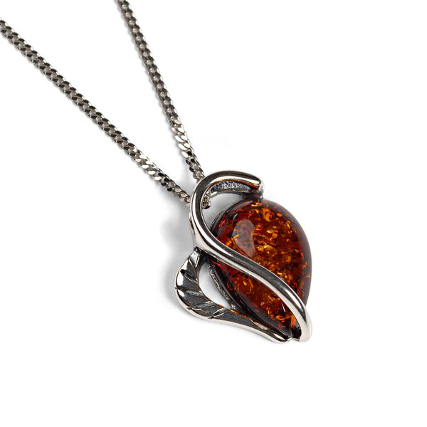Cognac Amber &  Silver Necklace