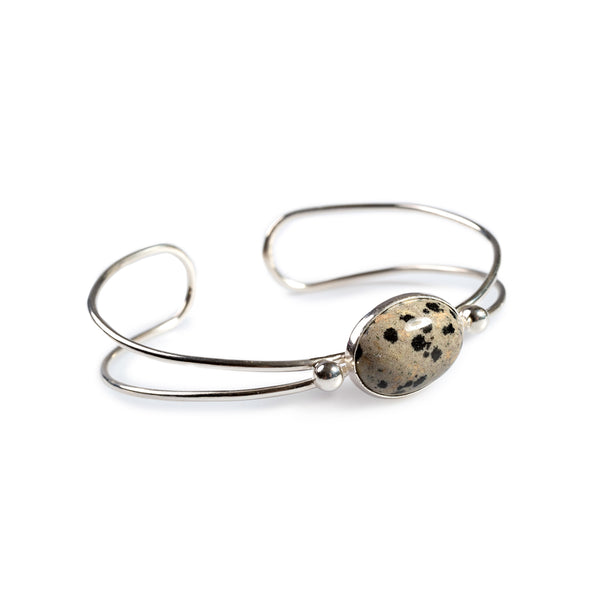 Oval Bangle in Silver and Dalmatian Jasper
