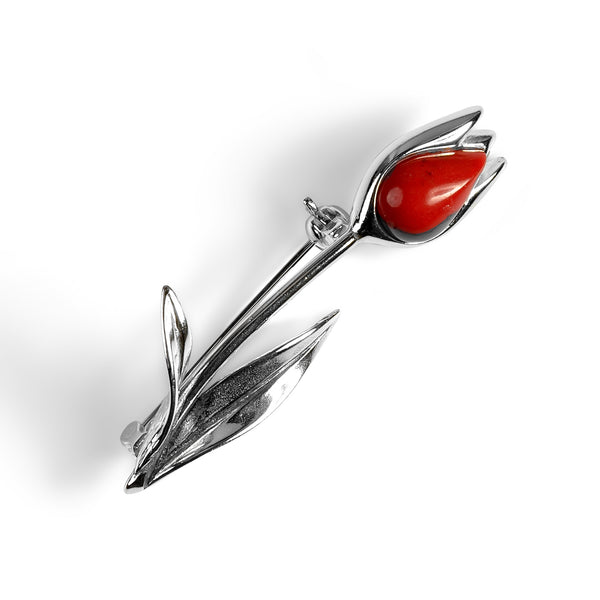 Single Tulip Brooch in Silver and Coral