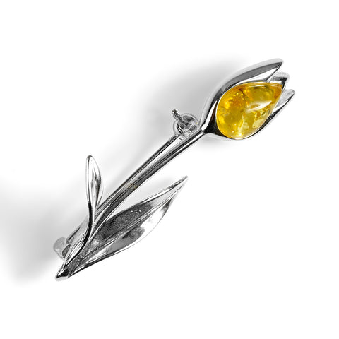 Single Tulip Brooch in Silver and Yellow Amber