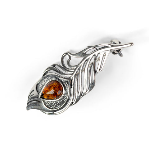 Peacock Feather Brooch in Silver and Amber