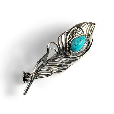 Peacock Feather Brooch in Silver and Turquoise