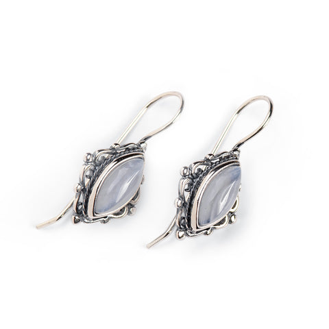 Vintage Style Earrings in Silver and Blue Lace Agate