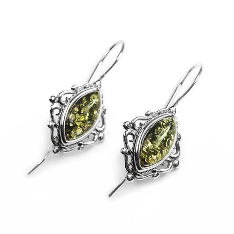 Vintage Style Earrings in Silver and Green Amber