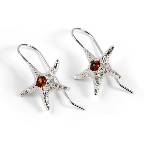 Starfish Hook Earrings in Silver and Amber