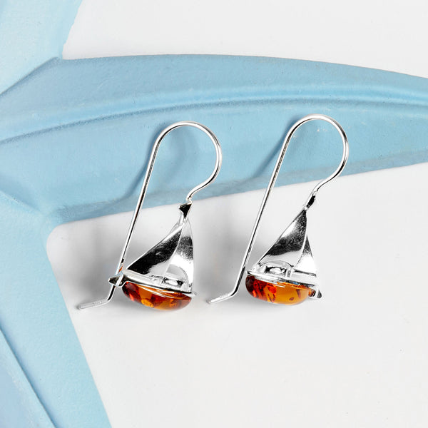 Sailboat / Boat Drop Earrings in Silver and Amber