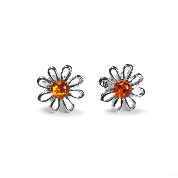 Daisy Stud Earrings in Silver and Amber