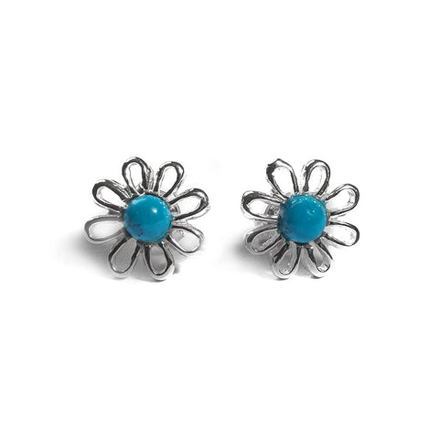 Daisy Stud Earrings in Silver and Turquoise