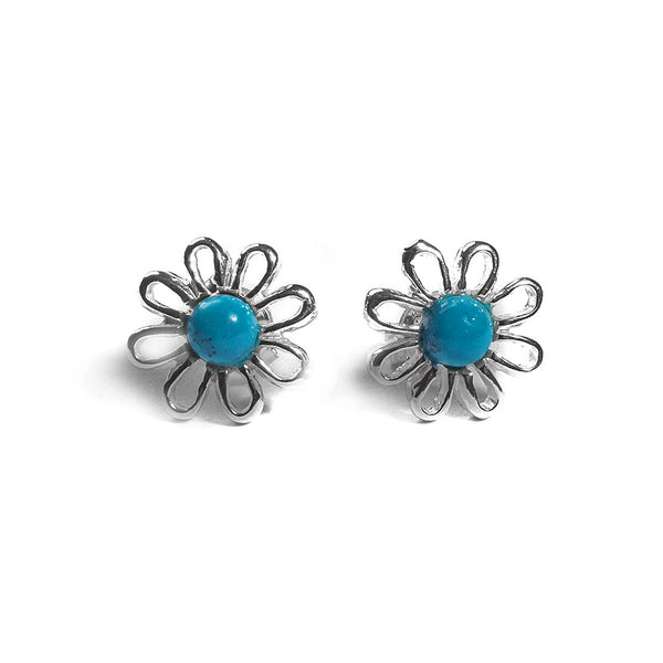 Posy Stud Earrings in Silver and Turquoise