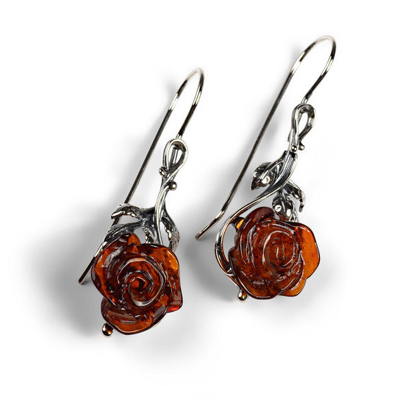 Single Stem Rose Drop Earrings in Silver and Amber