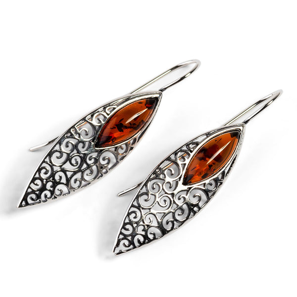 Vintage Inspired Hook Earrings in Silver and Amber