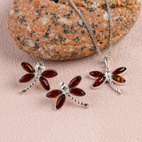 Pointed Dragonfly Necklace in Silver and Amber