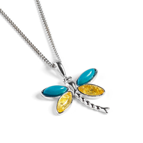 Pointed Dragonfly Necklace in Silver, Turquoise and Yellow Amber