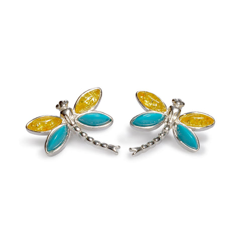 Pointed Dragonfly Stud Earrings in Silver, Turquoise and Yellow Amber
