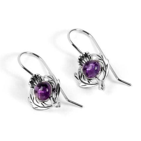 Scottish Thistle Hook Earrings in Silver and Amethyst