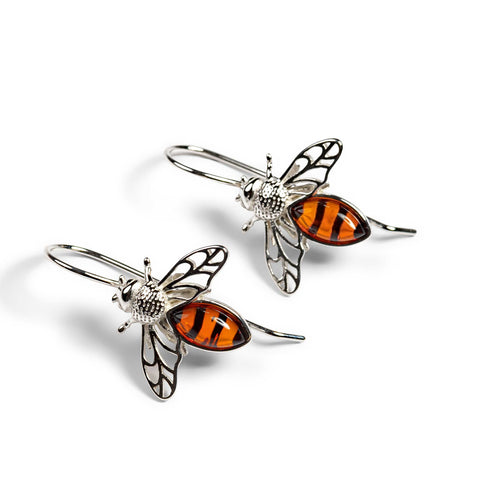 Honey Bee Hook Earrings in Silver and Amber
