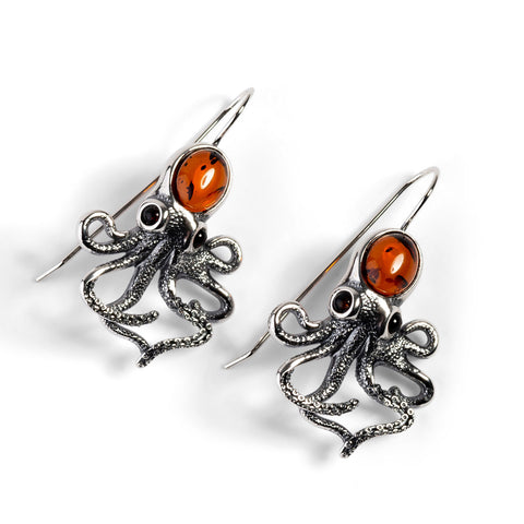 Statement Octopus Earring in Silver and Amber