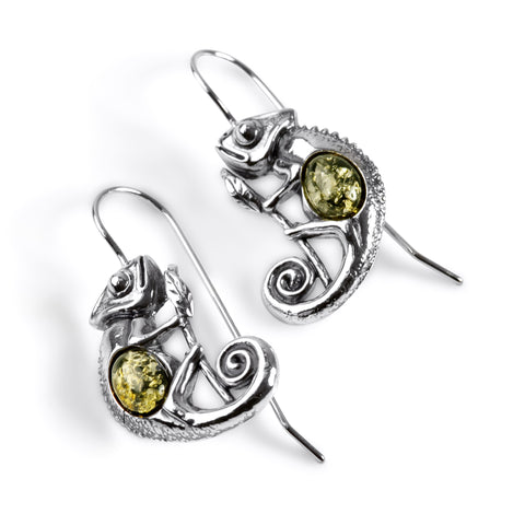 Chameleon on Branch Hook Earrings in Silver and Green Amber