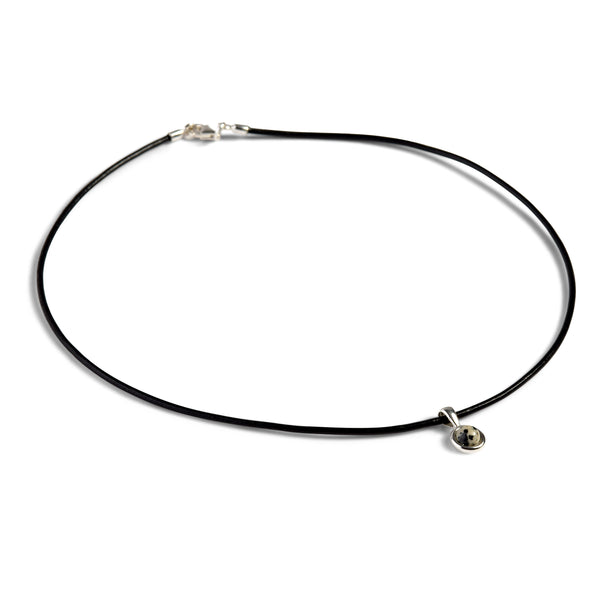 Round Dalmatian Jasper Charm Necklace with Leather Choker
