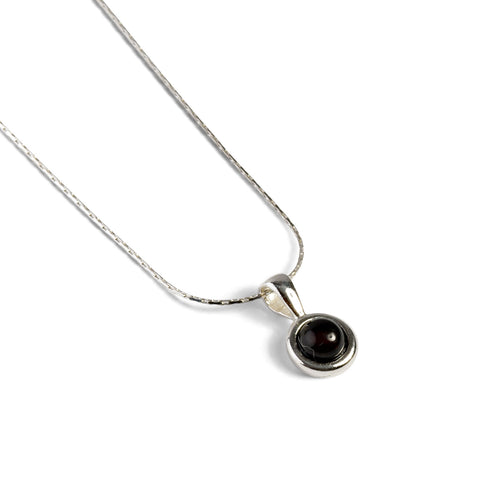 Round Charm Necklace in Silver and Amber