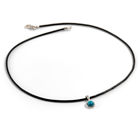 Round Turquoise Charm Necklace with Leather Choker