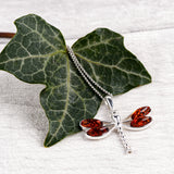 Dragonfly Necklace in Silver and Cognac Amber