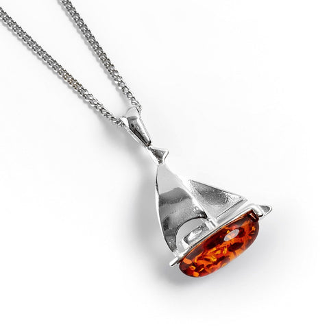 Sailboat / Boat Necklace in Silver & Amber