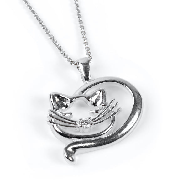 Sleeping Cat Necklace in Silver & Cubic Zirconia